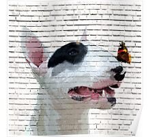 English Bull Terrier & Butterfly Poster