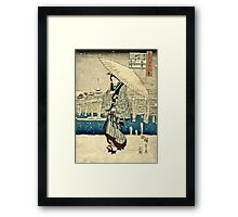 Ando Hiroshige - Eight Views Of Edo, Evening Snow At Asakusa, Date Unknown  Framed Print
