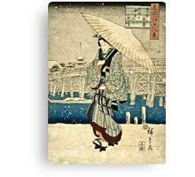 Ando Hiroshige - Eight Views Of Edo, Evening Snow At Asakusa, Date Unknown  Canvas Print