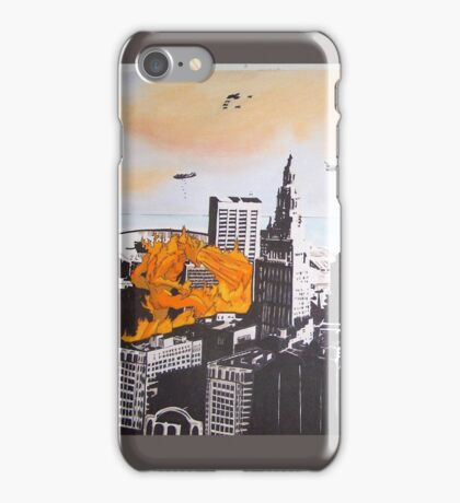 Cleveland pen and ink, acrylic fire monsters iPhone Case/Skin