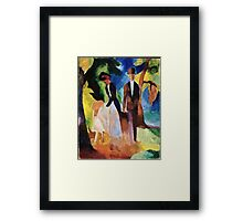 August Macke - People By The Blue Lake  Framed Print