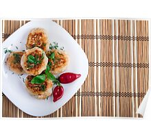 Fried meatballs of minced chicken with red pepper Poster