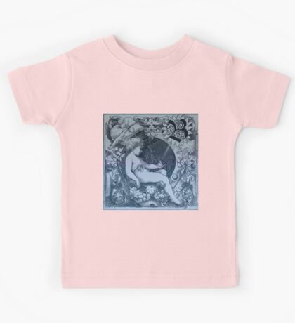 Rustic,old,angel drawing,vintage,reproduction,floral,blue shades, Kids Tee