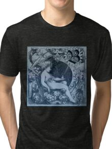 Rustic,old,angel drawing,vintage,reproduction,floral,blue shades, Tri-blend T-Shirt