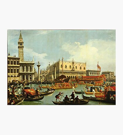 Canaletto Bernardo Bellotto - Bucentaurs return to the pier by the Palazzo Ducale 1728 - 1729  Photographic Print