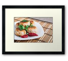 Closeup view of the fried meatballs on a striped background Framed Print