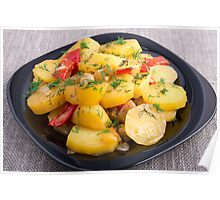 Stew of potatoes with onion, bell pepper and fennel  Poster