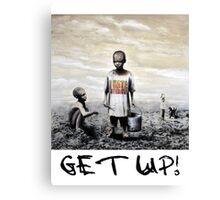 Banksy children tshirt graff GET UP! Canvas Print