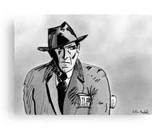 Film Noir Character with Hat, Coat and Paper on a Grey Day Canvas Print