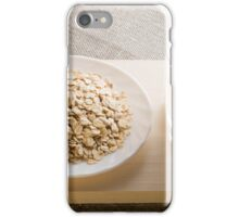 Glass of milk and a plate of cereal in backlight iPhone Case/Skin