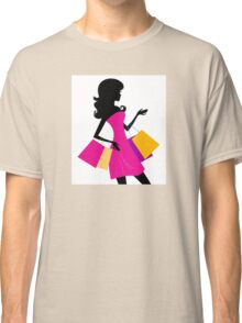 Shopping girl with pink bags silhouette Classic T-Shirt