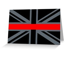 Firefighters Red Line Union Jack Greeting Card