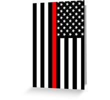 Firefighters Red Line US Flag Greeting Card