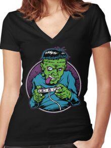 Franken Gamer Women's Fitted V-Neck T-Shirt