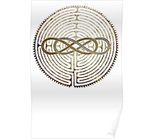 Lemniscate Double Infinity on Labyrinth Chartres antique metal Poster