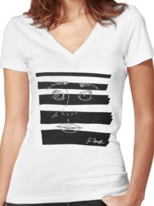 B&W Face  Women's Fitted V-Neck T-Shirt