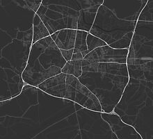 Ljubljana, Slovenia Map. (White on black) by Graphical-Maps