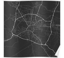Ljubljana, Slovenia Map. (White on black) Poster