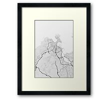 A Coruna, Spain Map. (Black on white) Framed Print