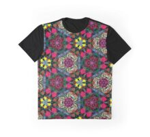 Rose Kaleidoscope Pattern - Black Background Graphic T-Shirt
