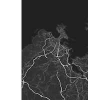 A Coruna, Spain Map. (White on black) Photographic Print