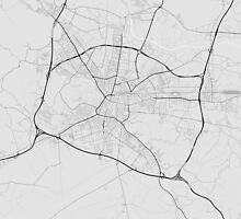 Ljubljana, Slovenia Map. (Black on white) by Graphical-Maps