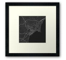 Alicante, Spain Map. (White on black) Framed Print