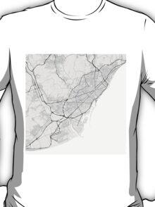 Barcelona, Spain Map. (Black on white) T-Shirt