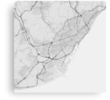Barcelona, Spain Map. (Black on white) Canvas Print