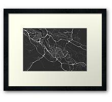 Bilbao, Spain Map. (White on black) Framed Print