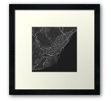 Barcelona, Spain Map. (White on black) Framed Print