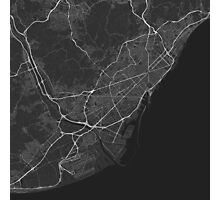 Barcelona, Spain Map. (White on black) Photographic Print