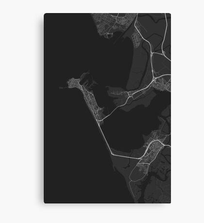 Cadiz, Spain Map. (White on black) Canvas Print