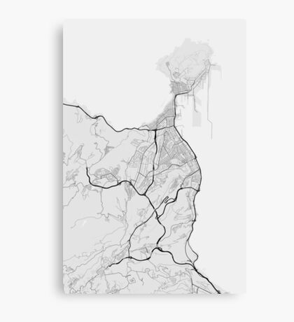 Las Palma, Spain Map. (Black on white) Canvas Print