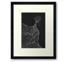 Las Palma, Spain Map. (White on black) Framed Print