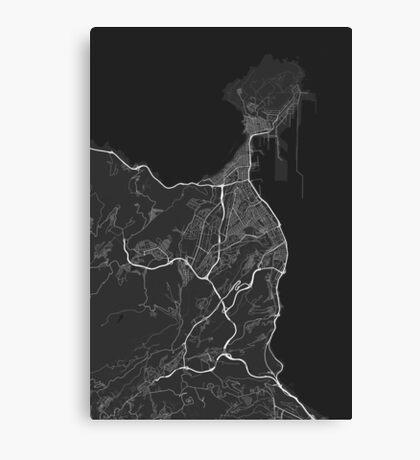 Las Palma, Spain Map. (White on black) Canvas Print