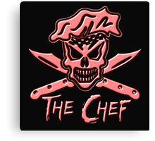 Chef Skull: Neon Pink Canvas Print