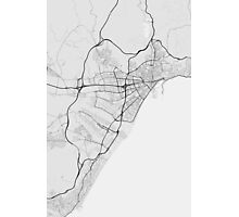 Malaga, Spain Map. (Black on white) Photographic Print