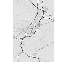 Oviedo, Spain Map. (Black on white) Photographic Print