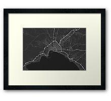 Palma, Spain Map. (White on black) Framed Print