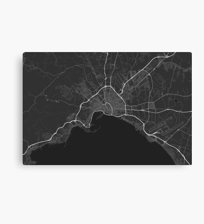 Palma, Spain Map. (White on black) Canvas Print