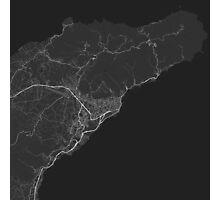 Santa Cruz de Tenerife, Spain Map. (White on black Photographic Print