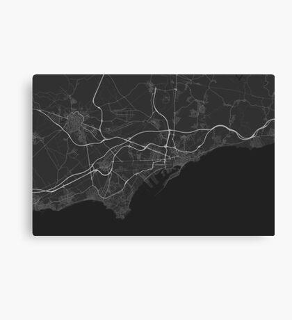 Tarragona, Spain Map. (White on black) Canvas Print