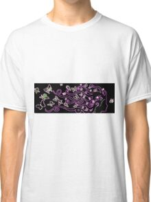 enlighted female silhouette with pink butterflies Classic T-Shirt