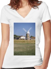 Cley Windmill and reedbeds Women's Fitted V-Neck T-Shirt