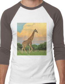Giraffe - African Wildlife - The Rain is Coming Men's Baseball ¾ T-Shirt