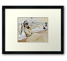 Claude Monet - Camille On The Beach In Trouville 1870  Framed Print