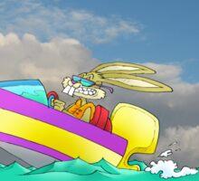 Cartoon illustration of a rabbit driving a speed boat. Sticker