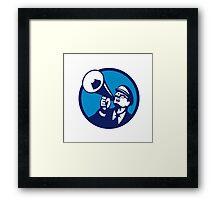 Nerd Shouting Megaphone Circle Retro Framed Print