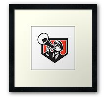 Nerd Shouting Megaphone Shield Retro Framed Print
